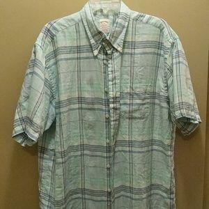 Brooks Brothers short sleeve plaid Irish linen XL